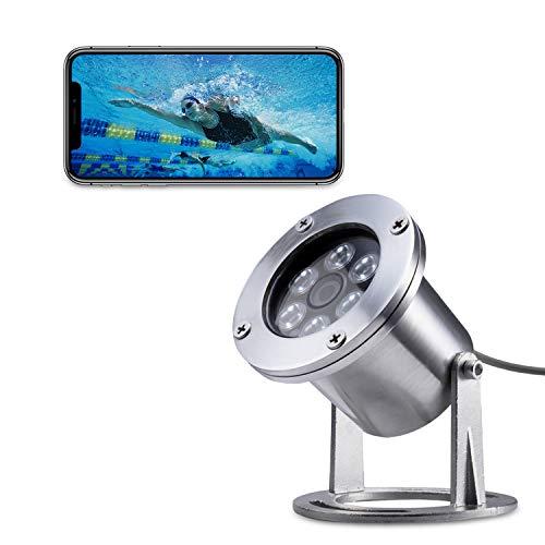 Barlus Caméra sous-Marine, 1080P POE IP Caméras Etanche IP68, 304 Stainless Steel Caméras avec Ligne Etanche IP68 de 3.6MM