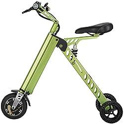 Scooter Eléctrico plegable (metálico verde) con batería de ion de litio
