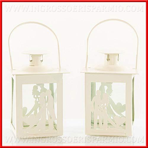 Ingrosso e risparmio lanterna bianca in metallo con sagoma coppia di sposini bomboniere design moderno matrimonio, anniversario 2019 (senza confezionamento)