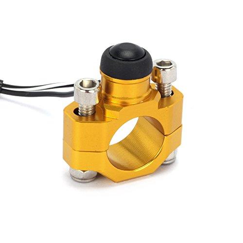 JFGRACING Universal CNC Motorrad-Stop Start-Schalter Knopf mit Halterung Größen 7/8Zoll Lenker Suzuki RMZ250RMZ450DRZ400–Gold