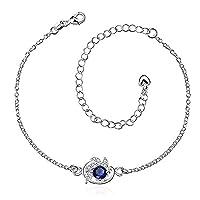 Flower Anklet Womens Silver Plated Ocean Blue Swarovski Elements Crystal Anklet Bracelet for Holiday