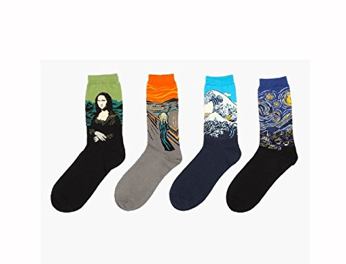 Famous Paintings Printed Whimsical Socks - Casual Crew - LIKE FINE ART, WEAR FINE ART -4 Pairs