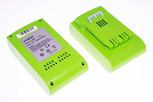 vhbw 2 x Li-Ion Akku 2500mAh (24V) für Elektro Werkzeug Greenworks 20-Inch Cordless Pole Hedge Trimmer wie 29322, 29807. (Cordless Hedge-trimmer)