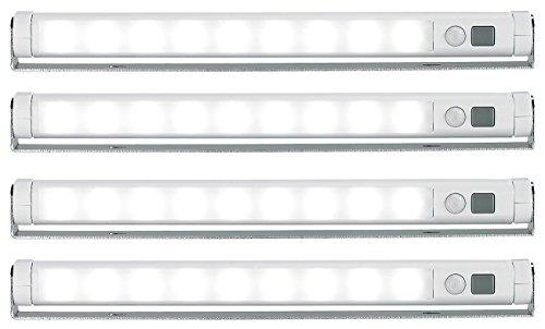 Lunartec LED Leiste mit Batterie: LED-Lichtleiste mit Bewegungsmelder, kaltweiß - 4er-Set (LED Notlicht)