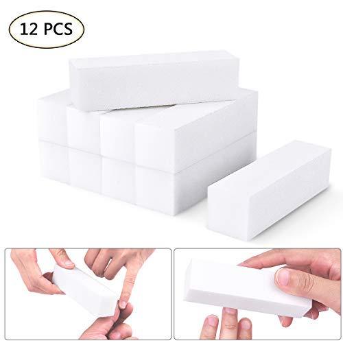 Ozuar 12 pezzi set di buffer per unghie, nail art buffer blocco,mattoncini di levigatura lime grinta di manicure strumento, blocco levigante per manicure(bianco)