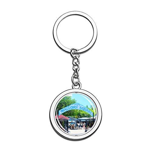 USA Vereinigte Staaten Schlüsselbund Mallory Square Key West Schlüsselbund 3D Kristall Drehen Rostfreier Stahl Schlüsselbund Touristische Stadt Andenken Schlüsselanhänger