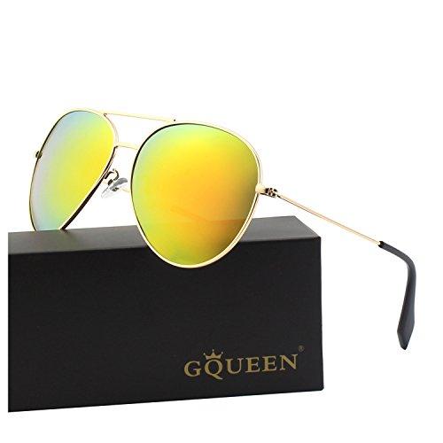 GQUEEN Premium Voll Verspiegelte Pilotenbrille Polarisierte Sonnenbrille MZZ9