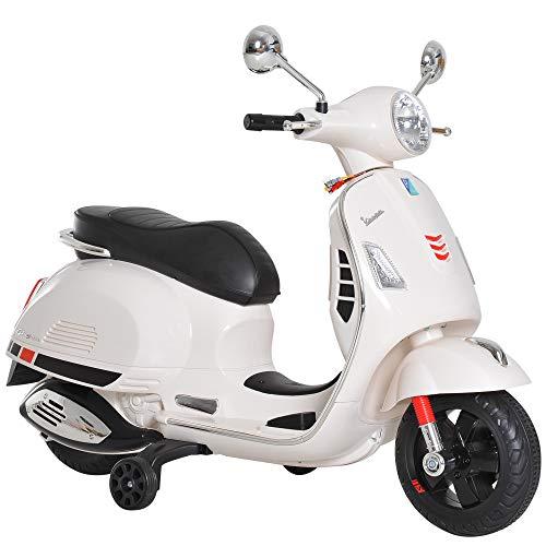 HOMCOM Elektrisches Kindermotorrad Elektro Motorrad Kinderauto Spielzeug Vespa Weiß L102 x B50,5 x H75,5 cm