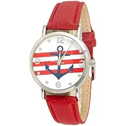 Anchor Watch Sailor Red Band Strap Fashion Nautical Stripe Analog Quartz Unisex