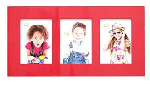 Deknudt Frames S66WK4 P3 Bilderrahmen, für 3 Fotos, lackiert, 10 x 15 cm, Rot