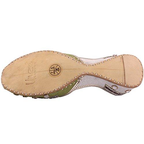 Unze Signore delle donne tradizionale ARIA Due Tonica Specchio lavoro indiano casual in pelle fatto a mano piatto Khussa Pompa Pantofole Formato dei pattini Verde / Bianco
