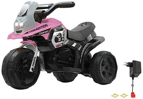 Jamara 460228 - Ride-on E-Trike Racer pink - 6V Akku, elektrisches Dreirad mit extra starkem Bürstenmotor, Stahlhinterachse, Stahlvordergabel, LED Frontlicht, Musik, ca. 1 Std. Fahrzeit