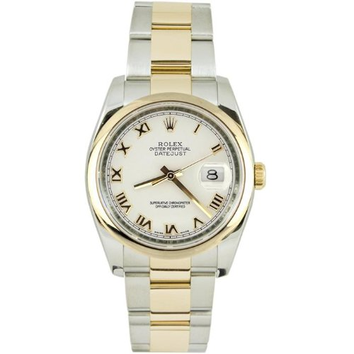 Rolex Mens New Style Heavy Band Stainless Steel & 18K Gold Datejust Model 116203 Oyster Band Smooth Bezel White Roman Dial