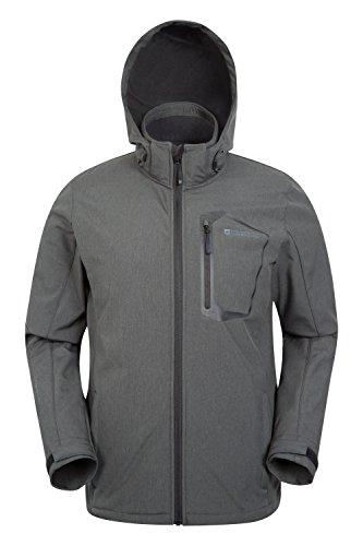 Mountain Warehouse Glover Herren strukturierte wasserdichte Softshelljacke mantel outdoor Kapuzenjacke mantel warm bequem leicht Camping Dunkelgrau XXX-Large