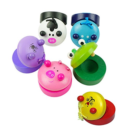 OFKPO 6 Pcs Wooden Cartoon Animal Castanets, Early Education Musical Instruments Toys for Baby Children Kids