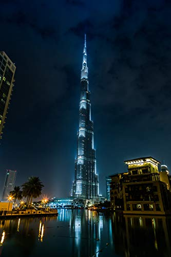 Postereck - Poster 2517 - Burj Khalifa, Wolkenkratzer Dubai Gebaeude Nacht Licht Größe DIN - A3-29.7 cm x 42.0 cm