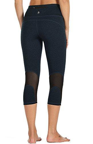 3/4 Capri Tight (icyzone Damen Sport Mesh Leggings - 3/4 Sporthose kurz Training Tights Fitness Capri Yoga Pants (Navy, L))