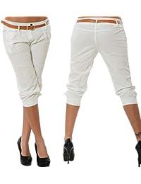 ORANDESIGNE Femme Eté Shorts Mode Pantalons Courts 3 4 Sarouel Pantalons  Confortable Chino Short Grande 10229801d7a