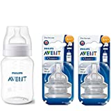 Philips Avent 260 Ml Classic Plus Feeding Bottle 1M+ With Philips Avent Classic Teat Pack Of 2 (4 Teats) 6M+