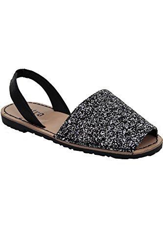ZAFFIRO BOUTIQUE Donna Stile minorca Cinturino Punta Aperta Glitterate Sabot Scarpe Basse Sandali Da Spiaggia Glitter Nero