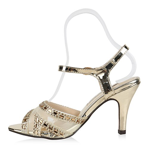 Damen Sandaletten Glitzer   Riemchensandaletten Lack   Party Schuhe Metallic   Stiletto Sandalen Strass Gold Camargo