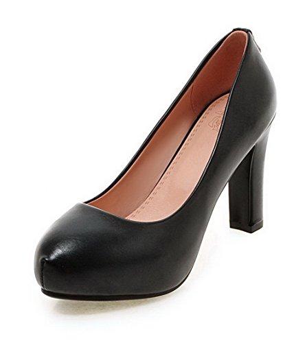 VogueZone009 Femme Couleur Unie Matière Souple à Talon Haut Tire Rond Chaussures Légeres Noir