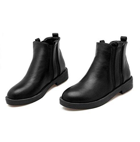 WZG Les nouvelles bottes rugueuses avec des femmes bottes chaussures plates racine carrée de chaussures Black