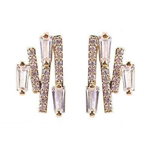 BinLZ Sommer-Mikro-Verzierte Elektrische Gewellte Exquisite Ohrringe aus Kupfer, 14 Karat Gold plattiert