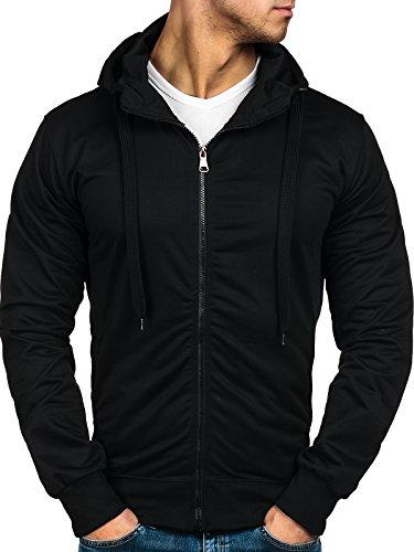 BOLF – Felpa con cappuccio – Maniche lunghe – Sweat-shirt – Pullover – Tinta unita – Uomo 1A1 Nero