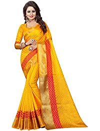 INDIAN BEAUTIFUL WOMEN'S ETHNIC WEAR JARI BORDERED BANARASI COTTON SILK YELLOW COLOUR SAREE.