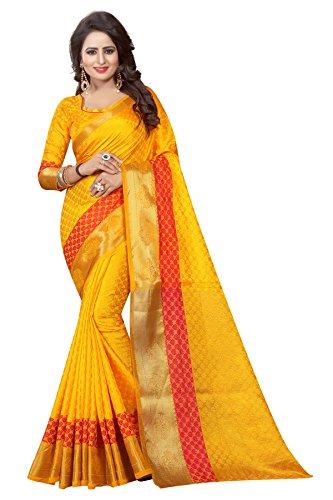 INDIAN BEAUTIFUL WOMEN'S ETHNIC WEAR JARI BORDERED BANARASI COTTON SILK YELLOW COLOUR...