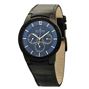 Skagen Herren-Armbanduhr XL Analog Quarz Leder 856XLBLN