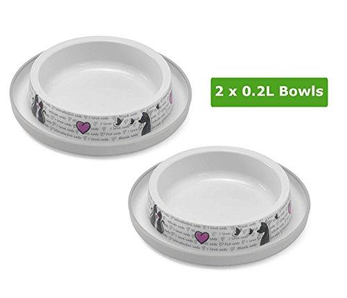 2x0.2L Cat Bowls Food Water Dish Feeding Kitten Bone Dog Pet Animal