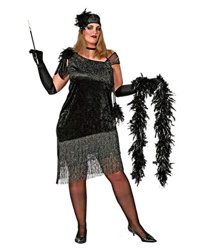 Horror-Shop Schwarzes Charleston Diva Kostümkleid Plus Size - Schwarzes Flapper Für Erwachsene Plus Kostüm