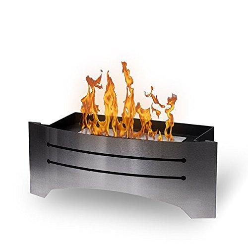 Wikao Insert décoratif Razor - INOX brossé, cheminée éthanol (poele Bio, a Poser au Sol,Mobile,Nomade,de Table,Mini poele Bio)