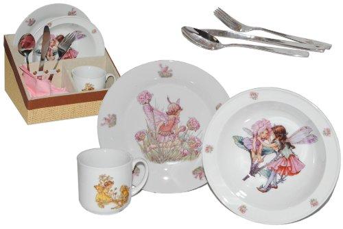 8 tlg. Geschirrset Porzellan Fairies - Keramik Fee Feen Mary Barker Schmetterlinge Kindergeschirr Kinderservice Reutter