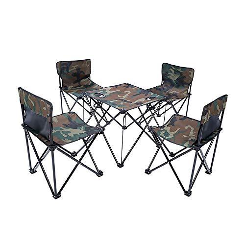 COKECO Outdoor Tragbarer Klapptisch Und Stuhl Set Oxford Tuch Klappstuhl Camping Tisch Und Stuhl Set Draussen Picknick Angeln Stark Und Haltbar Campingtisch Und Stuhl
