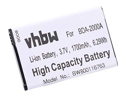 vhbw Li-Ion Akku 1700mAh (3.7V) für Senioren Handy Smartphone Telefon Doro Liberto 8030, 8031, 822, 825