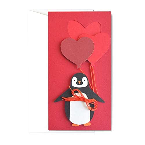 Amore - pinguino - festa degli innamorati - palloncini - biglietto d'auguri (formato 21 x 11 cm) - vuoto all'interno, ideale per il tuo messaggio personale - realizzato interamente a mano.