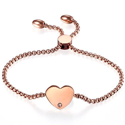 JewelryWe Schmuck Damen Armband, Edelstahl Strass Hochglanz Poliert Herz Verstellbar Charm Armkette Armreif, Rosegold, kostenlos Gravur