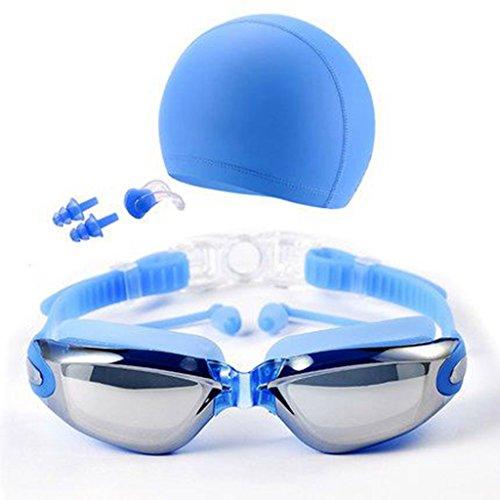 QHYK Gafas de natación, antivaho y Anti protección UV sin Fugas, visión cristalina, con Silicona Swim Cap Clip de Nariz Tapones para los oídos Estuche de Caja Protectora, Conjunto de Estilos