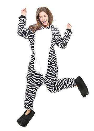 Zebra Ganzkörper Tier-Kostüm für Erwachsense - Plüsch Einteiler Overall Jumpsuit Pyjama Schlafanzug - Schwarz/Weiß - Gr. L (Kleine Zebra Mädchen Kostüm)