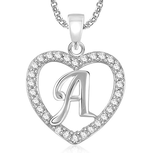 Meenaz Silver Plated 'A' Letter Pendants Alphabet Pendant With Chain For Men,Women,Kids in Ameriacan Diamond Cz Jewellery