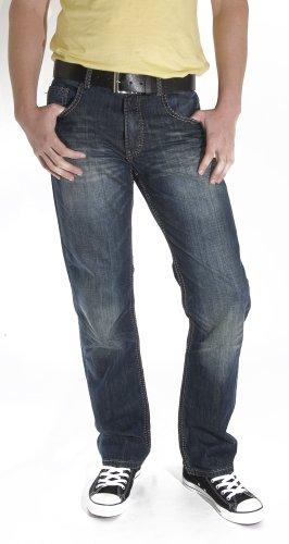 Carter saddle paddocks coupe jean bleu foncé avec tiger angelBelt ceinture en cuir noir Bleu - Bleu foncé