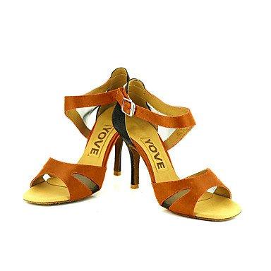 Scarpe da ballo-Personalizzabile-Da donna-Balli latino-americani / Salsa-Tacco su misura-Raso-Nero / Blu / Giallo / Rosa / Viola / Rosso nude