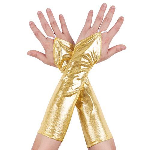 inlzdz Damen Fingerlose Handschuhe Wetlook Lange Latexhandschuhe Glänzend Stulpenhandschuhe Zubehör für Party Cosplay Fasching Clubwear Gold One Size
