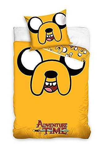 Adventure Time parure linge de lit réversible 100% Coton housse de couette 140x200 + Taie d'oreiller 70x90