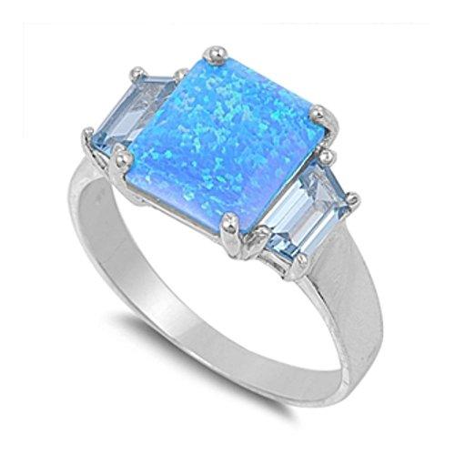 Ring aus Sterlingsilber mit Lab Opal (Für Männer 14k Gold Ring Blau Stein)