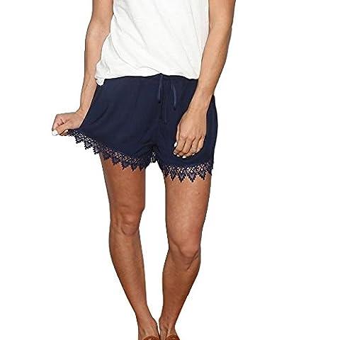 Women Shorts, Fami Summer Pure Lace Spliced Casual Short Pants (XL, Bleu)