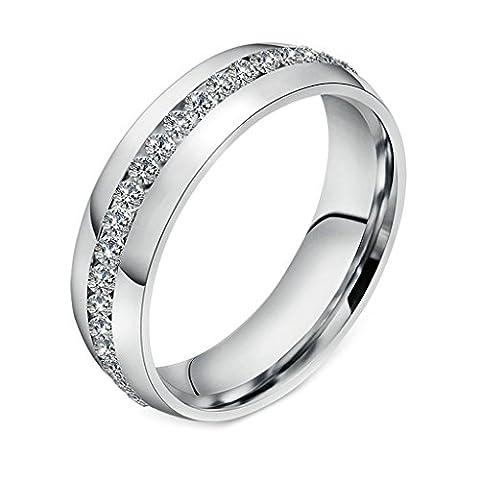 Elle & Bague Femme pour Love Titane plaqué or blanc 18K mariage fiançailles bande 6mm Taille US 6